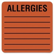 Tabbies  Allergy Label, 2&quot;x2&quot;, 500LB/RL, Fluorescent Red