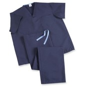 Medline Industries, INC.  V-Neck Scrub Shirt, Reversible, Heavyweight, Md, Dark Blue