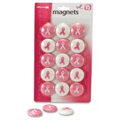 Officemate International Corp  Magnets, Circle, 15/PK, Pink/White