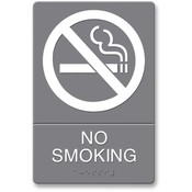 "U.S. Stamp & Sign ADA Sign, ""No Smoking, Adhesive, 6""x9"", White/Gray"
