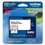 "Brother International Corp. Lettering Tape, 1-1/2"" Size, Black/White"