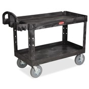 "Rubbermaid Commercial Products  Utility Cart, 2-Shelf, w/Lip, Hvydty, 26""x55""x33-1/4"", BK"