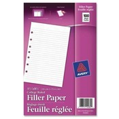 "Avery Consumer Products Filler Paper, College Ruled, 8-1/2""5-1/2"",100/PK, White"