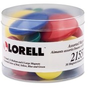 Lorell  Magnets, 30, 12 Sm/12 Md/ 6 Lg, Assorted