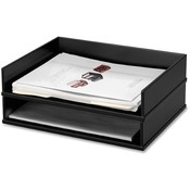 Victor Technologies Stacking Letter Tray, 13x10-9/16x3-1/4, Midnight Black Wholesale Bulk