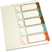 Selco Industries, Inc.  TOC Dividers, 5-Tab, Ltr, 2-Hole, 75lb, Ivory