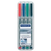 Lumocolor Nonpermanent Markers, Fine Point, 4/Ct.,