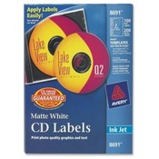 Avery Consumer Products  CD Labels, Inkjet Matte, 100/PK, White