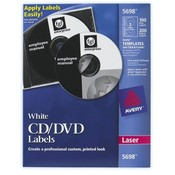 Avery Consumer Products  CD Labels, Laser, 100/PK, White