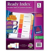 "Avery Consumer Products  Ready Index Dividers,1-5 Tab,3HP,8-1/2""x11"",Asst"