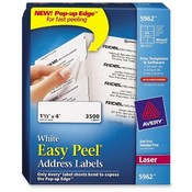 "Avery Consumer Products  Laser Labels, Mailing, 1-1/3""x4"", 3500/BX, White"