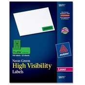 Avery Consumer Products  Neon Laser Labels, Rectangle, 1&quot;x2-5/8&quot;, 750/PK, Fl. Green