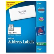 "Avery Consumer Products  Copier Label, Mailing, 1-1/2""x2-13/16"", 2100/BX, White"