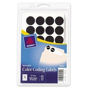 Avery Consumer Products  Removable Labels, 3/4&quot; Round, 1036/PK, Black