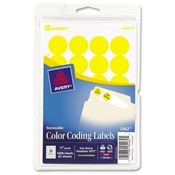 Avery Consumer Products  Removable Labels, 3/4&quot; Round, 1008/PK, Yellow