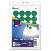Avery Consumer Products  Removable Labels, 3/4&quot; Round, 1008/PK, Green