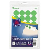 Avery Consumer Products  Removable Labels, 3/4&quot; Round, 1008/PK, Green Neon