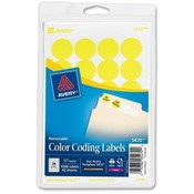 Avery Consumer Products  Removable Labels, 3/4&quot; Round, 1008/PK, Yellow Neon