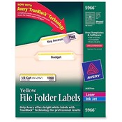 Avery Consumer Products  Permanent Filing Labels, 1/3 Cut, 1500/BX, Yellow