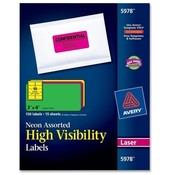 "Avery Consumer Products  Neon Laser Labels, Rectangle, 2""x4"", 150/PK, Assorted"