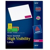 "Avery Consumer Products  Neon Laser Labels, Full Sheet, 1""x2-5/8"", 450/PK, Assorted"
