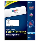 Avery Consumer Products  Color Inkjet Labels,Matte,Rectangle,2&quot;x4&quot;,200/PK,WE