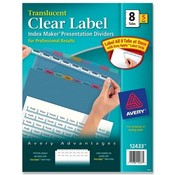 Avery Consumer Products  Index Label Dividers, Plastic, 8-Tab, 3HP Punched, Multi
