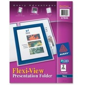 Avery Consumer Products 2-Pocket Folder, With Front Window, Letter-Size, 2/PK, Navy Wholesale Bulk