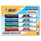 Bic Corporation Whiteboard Markers, Chisel Point, 4/ST, Black,Blue,Red,Green