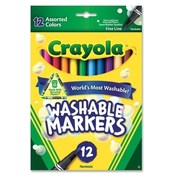 Binney and Smith  Washable Markers, Fine Tip, Nontoxic, 12/ST, Assorted