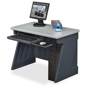 "Iceberg Enterprises Computer Desk,42""x24-1/2""x30"",Charcoal Gray Base/Silver Top"