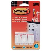 3M Commercial Office Supply Div.  Micro Hooks,w/ Strips,3 Hooks/4 Strips,Holds 1/2 lb,White