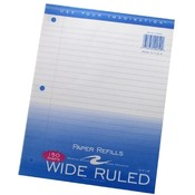 Roaring Spring Paper Products Filler Paper,3-Hole Punch,8'x10-1/2',Wide Rule,150/PK,WE Wholesale Bulk