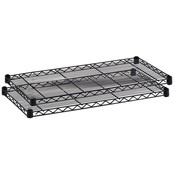 "Safco Products Company  Extra Shelves,f/Wire Shelving,48""x24""x1-1/2"",2/CT,Black"