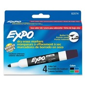 Sanford Ink Corporation Dry-erase Marker, Bullet Point, 4/ST, BK/RD/BE/GN