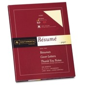 "Southworth Company Resume Paper, Cotton Fiber, 24 lb, 8-1/2""x11"", 100/BX, Ivory"