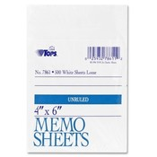 Tops Business Forms Memo Sheet, 4'x6', 500 Sh/Pk, White Wholesale Bulk