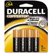 Duracell Coppertop Alkaline Batteries AA 4/Pack