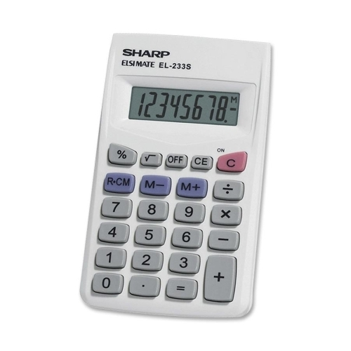 ''Sharp ELECTRONICS 8-Digit Pocket Calculator, 2-1/4''''x3-3/4''''x1/2'''', White/Gray [971686]''