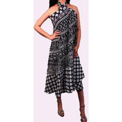 Women's Knee Length Black & White Print Dress