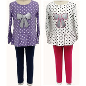 Toddler Girls 2PC Polka Dot Bow Shirt and Pant Set