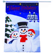 Snowman Outdoor Flag w/Fiber Optic Lights