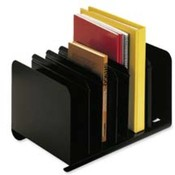 Adjustable Book Rack,6 Compartments,15&quot;x11&quot;x8-13/16&quot;,Black. 1 EA/CT.