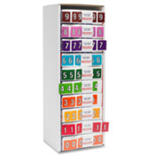 "Numeric Coded Labels,""0"", 1-1/4""x15/16"",500/BX,Pink. 500 EA/BX."