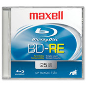 BD-RE Blu-Ray Disc,Rewritable,1X/2X,25GB,Std Jewel Case. 1 EA/PK.
