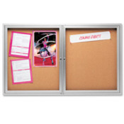 Cork Board W/Glass Door, 2 Door, 4'x3', Aluminum Frame. 1 EA/CT.