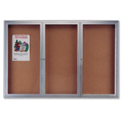 Cork Board W/Glass Door, 3 Door, 6'x4', Aluminum Frame. 1 EA/CT.