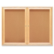 "Cork Boards, 2 Door, 36""x48"", Oak Frame. 1 EA/CT."