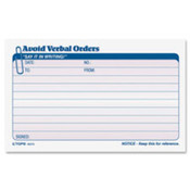 "Verbal Orders Book,Carbonless,2-Part,4-1/4""x7"",50 Set/BK. 12 EA/BX."