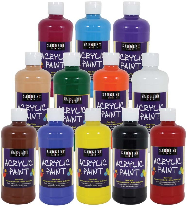 Wholesale set of 12 16oz acrylic paint sku 1940573 for Acrylic paint in bulk